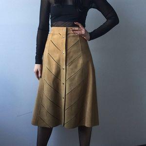 70s suede camel a-line skirt